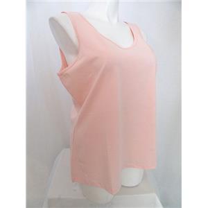 Studio By Denim & Co. Size 1X Shell Pink Scoop Neckline Knit Tank