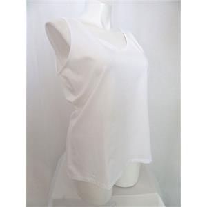 Studio By Denim & Co. Size 3X White Scoop Neckline Knit Tank