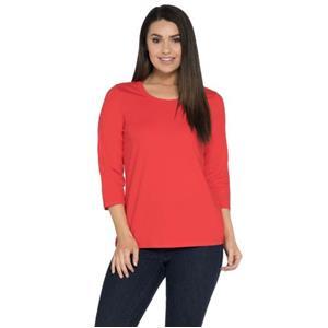 Denim & Co. Essentials Size 2X Red Perfect Jersey 3/4 Sleeve Round Neck Top