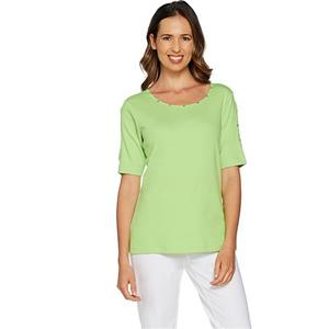 Quacker Factory Size 3X Lime Punch Rhinestone Split Sleeve Knit T-shirt