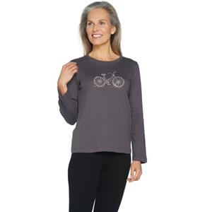 Quacker Factory Size 3X Slate w/ Rhinestud Bicycle Long Sleeve T-Shirt