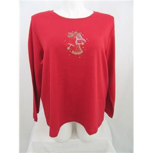 Quacker Factory Size 2X Red w/ Rhinestud Bells Long Sleeve T-Shirt