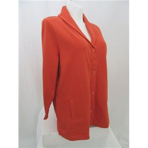 Denim & Co Size 1X Spice Orange Long Sleeve Button Front ShawlCollar Knit Jacket