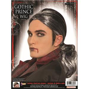 Gothic Vampire Prince Black and Silver Long Ponytail Wig