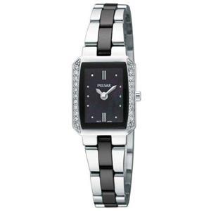 Pulsar Watch PEGG09 Ladies Black/Silver Bracelet.Swarovski Crystals.50% Off MSRP