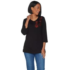 Quacker Factory Size 2X Black w/Red Sequins 3/4 Sleeve Sequin Paw Print Knit Top