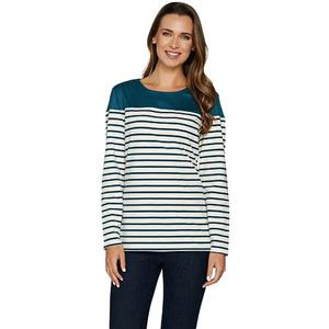 Denim & Co Size 1X Fall Teal Long Sleeve Striped Top with Solid Faux Suede Yoke