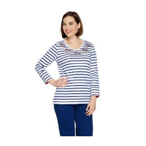 Quacker Factory Size 1X Navy Flag 3/4-length sleeves V-neck Top