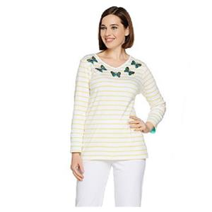 Quacker Factory Size 1X Yellow Butterfly 3/4-length sleeves V-neck Top