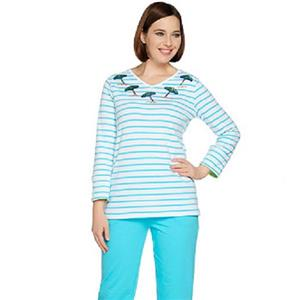 Quacker Factory Size 3X Turquoise Umbrella 3/4-length sleeves V-neck Top