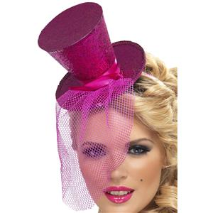 Hot Pink Glitter Mini Top Hat on a Headband
