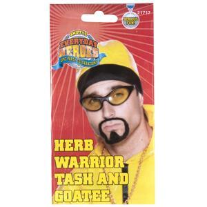Herb Warrior Tash and Goatee Beard Facial Hair Set Costume Accessory Kit