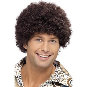 Brown 70's Disco Dude Curly Afro Wig