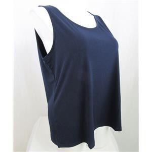 Susan Graver Essentials Size 2X Navy Liquid Knit Tank with Scoop Neckline