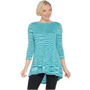Susan Graver Size 3X Turquoise Cotton Rayon Space Dye Lightweight Knit Top