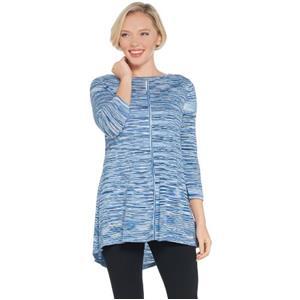 Susan Graver Size 2X Blue Cotton Rayon Space Dye Lightweight Knit Top
