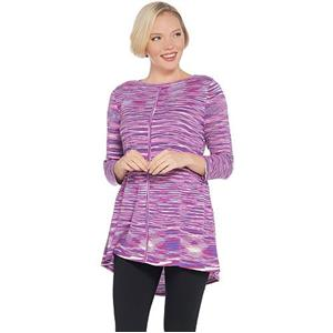 Susan Graver Size 2X Purple Cotton Rayon Space Dye Lightweight Knit Top
