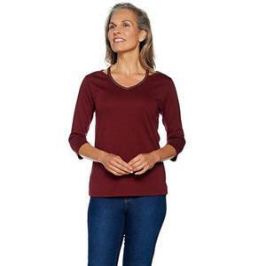 Quacker Factory Size 2X Wine Chic Sparkle Cut-Out V-Neck Knit T-shirt