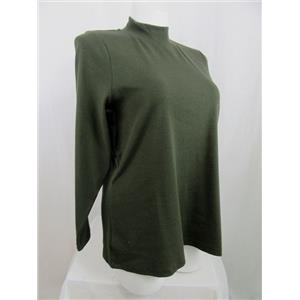 Denim & Co. Essentials Size 2X Dark Olive Long Sleeve Mock Neck Top
