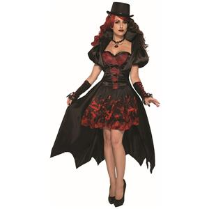 Immortal Princess Victorian Vampiress Red and Black Adult Costume Dress