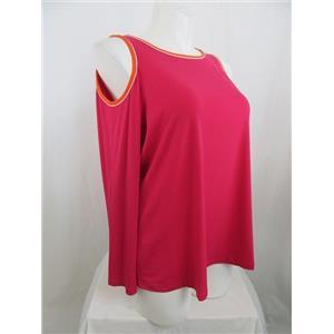 Susan Graver Size 1X Passion Pink Liquid Knit Long Sleeve Cold Shoulder Top