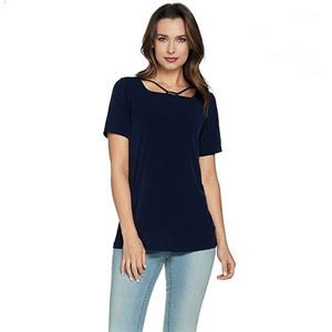 Susan Graver Size 1X Black Liquid Knit Short Sleeve Top with Trim