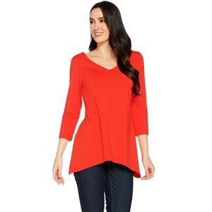Susan Graver Size 1X Fiery Red Stretch Cotton Modal Reversible Neckline Top