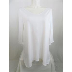 Susan Graver Size 2X White Stretch Cotton Modal Reversible Neckline Top