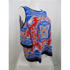 Susan Graver Size 1X Blue/Red Printed Liquid Knit Cold Shoulder Top