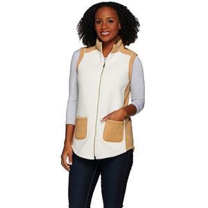 Susan Graver Size 1X Ivory/Camel Bonded Polar Fleece Zip Front Color Block Vest
