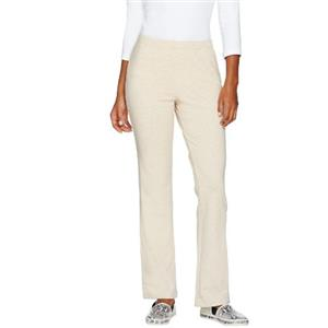 """Susan Graver 1X- 31"""" Inseam Heather Oatmeal French Terry Pull-On Boot cut Pants"""