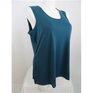 Susan Graver Premier Knit Size 1X Bold Teal U-Neck Tank