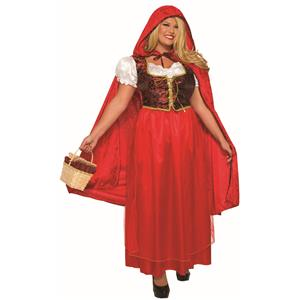 Classic Red Riding Hood Dress and Cape Adult Costume Plus Size