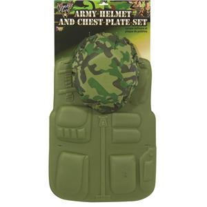 Green Toy Soldier Army Chest Plate and Helmet Set