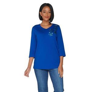 Quacker Factory 1X Royal Blue/Aqua Sequins 3/4 Sleeve Sequin Paw Print Knit Top