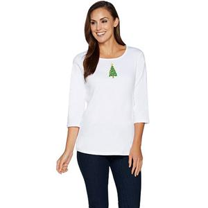Quacker Factory Size 2X White Tree Fall Fun 3/4 Sleeve T-shirt