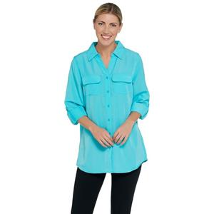Denim & Co. Size 1X Turquoise Roll Tab Sleeve Button Front Soft Utility Tunic
