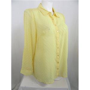 Denim & Co. Size 1X Yellow Swiss Dot Tunic Shirt
