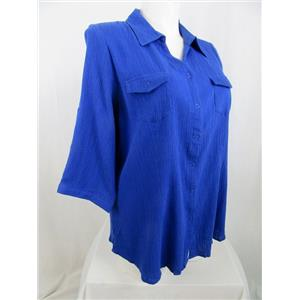 Denim & Co. Size 1X Royal Blue Roll Sleeve Snap Front Gauze Top