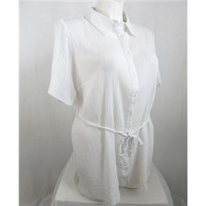 Denim & Co. Size 1X White Button Front Gauze Tunic with Tie