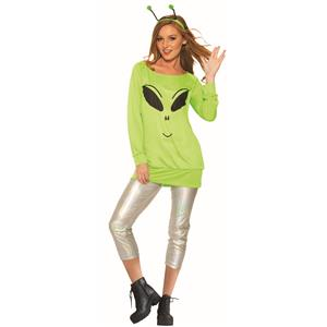 Spaced Out Green Alien Shirt and Leggings Adult Costume