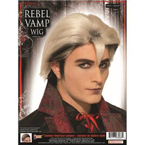 Gothic Rebel Vampire Black and Silver Long Edward Vampire Wig