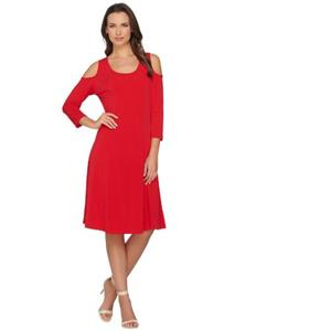 Susan Graver Size 1X Red Liquid Knit 3/4 Sleeve Cold Shoulder Dress