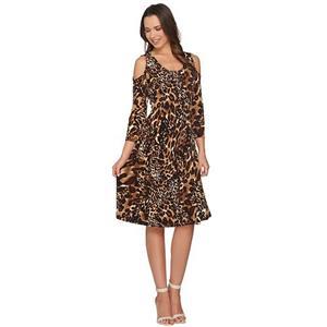 Susan Graver Size 2X Brown Animal Liquid Knit 3/4 Sleeve Cold Shoulder Dress