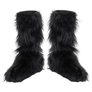 Black Furry Boot Covers (Child or up to Ladies Size 8)