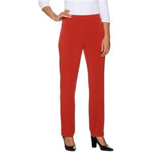 Susan Graver Essentials Size 1X (Petite) Clay Liquid Knit Straight Leg Pants