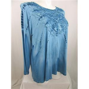 Mellisa Paige Woman Size 1X Blue Tie Dye Long Sleeve Swing Top /Lace Bib Overlay
