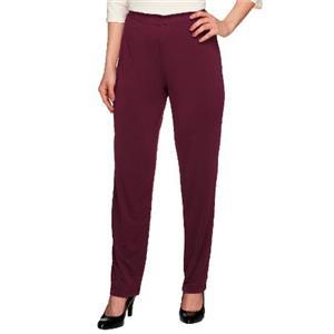 Susan Graver Essentials Size 1X (Petite) Merlot Liquid Knit Straight Leg Pants
