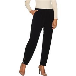 Susan Graver 2X (Petite) Black Liquid Knit Jogger Pants w/ Zipper Detail