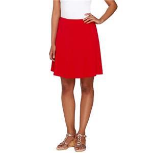 Susan Graver Size 2X Red Liquid Knit 8 Gore Pull-On Skort